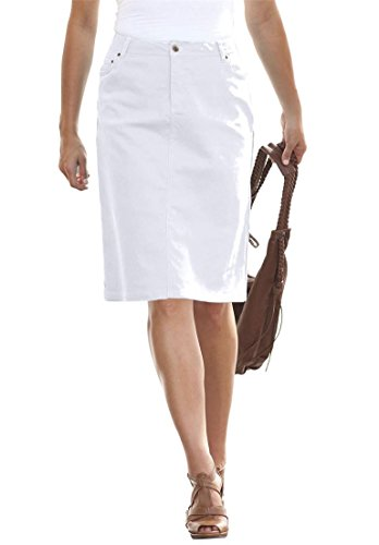 Plus Size White Denim Skirt - Dress Ala