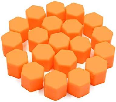 uxcell タイヤスクリューキャップ 17 x 19mm オレンジ 光る 車 ホイールタイヤ ハブ ネジ ボルトナット キャップ カバー 20個入り