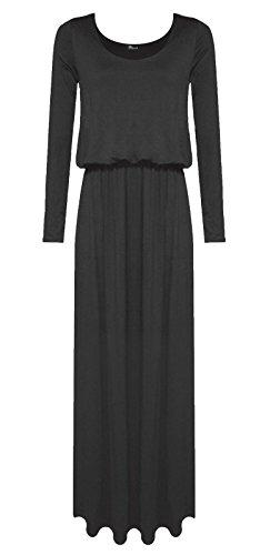 [Womens long sleeve plain toga maxi dress/ puffball maxi dress/ balloon maxi dress (XXL, Black)] (Black Toga Dress)