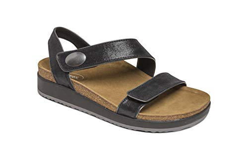 Aetrex Camila Womens Leather Quarter Strap Orthotic Sandals - Black - 40 (US - Shoes Aetrex Black
