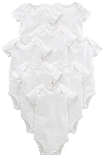 Simple Joys by Carter#039s Baby 8Pack ShortSleeve Bodysuit White 03 Months
