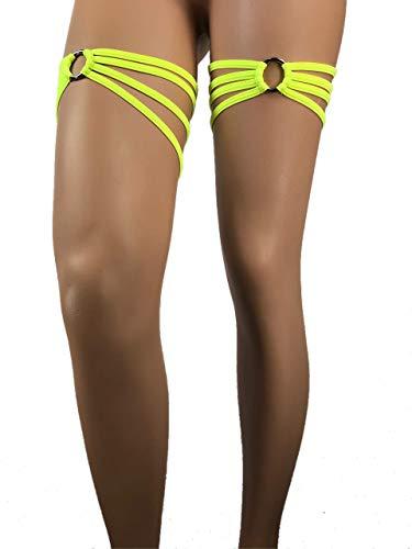 Exotic Dancewear leg Wraps Neon Yellow Garter money holder Set O Ring