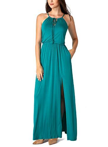 VFSHOW Womens Summer Teal Green Drawstring Halter Keyhole Spaghetti Strap V Neck High Split Pleated Formal Casual Party Maxi Dress Z3015 GRN - Dress Strap Shirred Spaghetti