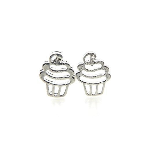 Birthday Cupcake Invisible Clip On Earrings for Non-Pierced Ears, Silver-Tone