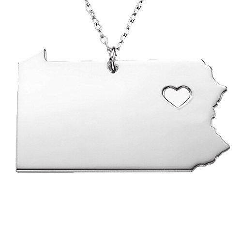 18K Gold Silver Country Map Charm Pendant Pennsylvania State Map Necklace Jewelry (Silver)