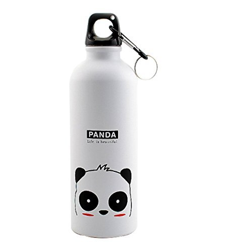 Coolcups Funny Cute Kids Cartoon BPA Free Stainless Steel Leak-proof Water Bottle With Straw Lemon Small Lightweight Outdoor Sports Infusion Print School Water Bottle For Teen Girl/BOys(Panda)