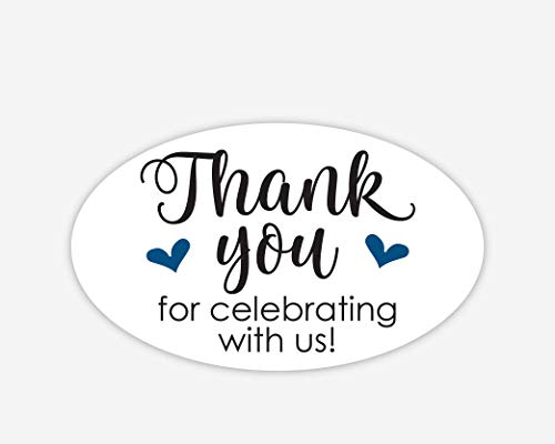 Oval Thanks for Celebrating with Us Stickers, Wedding and Event Favor Labels (#265-NV-OV) (Oval Favor Labels)