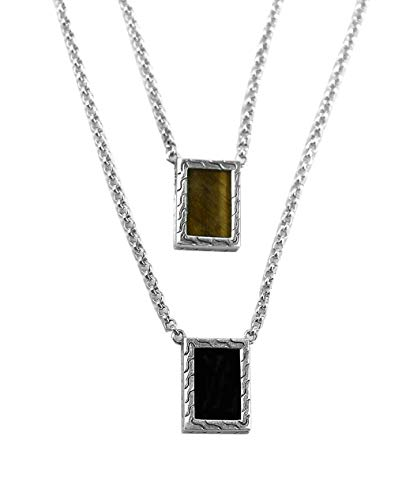 John Hardy ST.Silver Classic Chain Tiger Eye Black Onyx Double Necklace 18