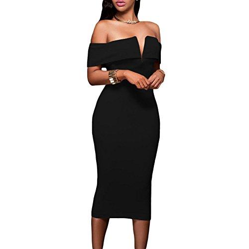 Eiffel Women's Off-The-Shoulder Midi Dress Night Club Bodycon Bandage Black