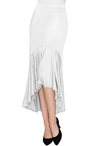 (Made By Johnny WB1132 Womens Asymmetrical High Low Ruffle Hem Skirt XL White)
