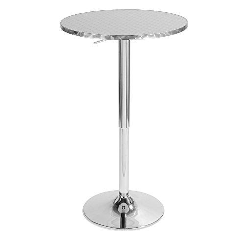 LumiSource Bistro Hydraulic Bar Table, Silver Swirl