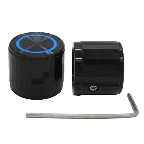 Taiss/ 2pcs Black Aluminum Rotary Electronic Control Potentiometer Knob for 6 mm Diameter Shaft, Volume Control Knob, Audio knob, Guitar Knob,Switch Knob, 20mm Dia. x 17mm Height Knob-2