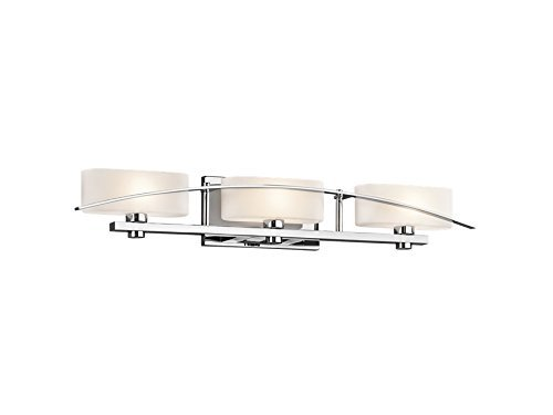 Chrome Etched Vanity (Kichler 45317CH Suspension 3-Light Vanity Fixture and Satin Etched Cased Opal Glass, Chrome Finish by Kichler)