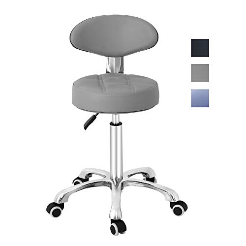 Grace Grace Pneumatic Height Adjustable Rolling Swivel Stool with Comfortable Seat Heavy Duty Metal Base for Salon, Massage, Shop and Kitchen Grey