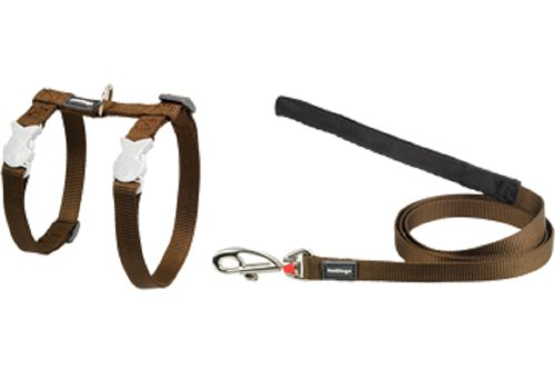 Red Dingo Classic Cat Harness and Lead Combo, Brown, My Pet Supplies