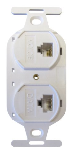 Allen Tel Products AT107BFD-15 2 Ports, 1-6 Conductor, 6 Position, 1-8 Conductor, 8 Position Keyed Flush Mount Duplex IDC Outlet Jack, White ()