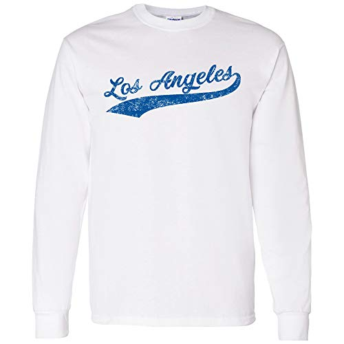 UGP Campus Apparel Los Angeles Baseball Script - Hometown Pride, Pitcher Long Sleeve T Shirt - Small - White/Blue