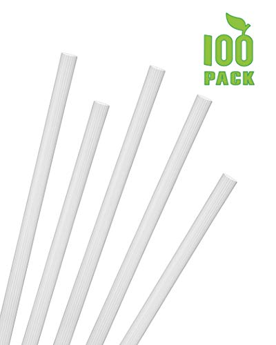 "Greenhouse Extra Long Jumbo Smoothie Straws, Pack of 100, Compostable, Plant Based, Unwrapped Wide Shake Straws .30"" x 9.80"", Translucent White"