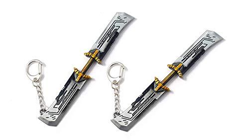(Kpergah 2PCS Thanos Double Sword Twin Blade Avengers Endgame Sword Keychain Key Holder)