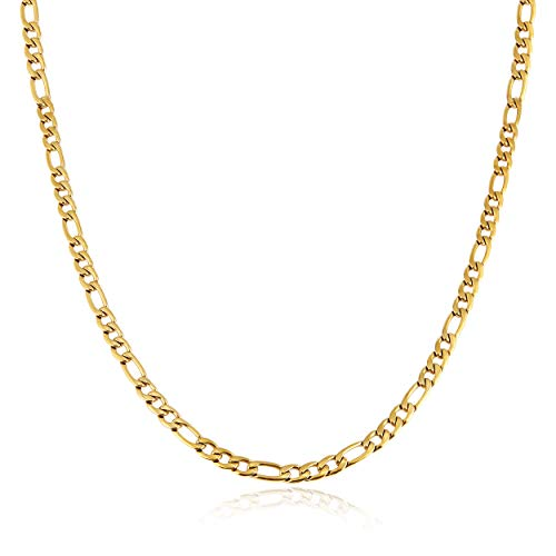 HZMAN Men Women 24k Real Gold Plated Figaro Chain Stainless Steel Necklace, Wide 5mm 7mm 9mm 13mm (Mens Chain Cuban Gold)