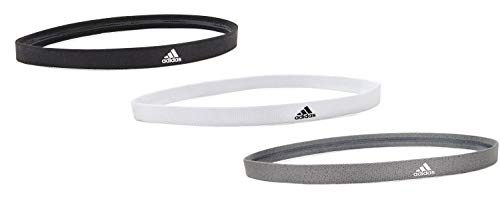 adidas 3 Pack Sweat Band Sports Headbands with Super Absorbent Non-Slip Grip, Grey/White/Black'