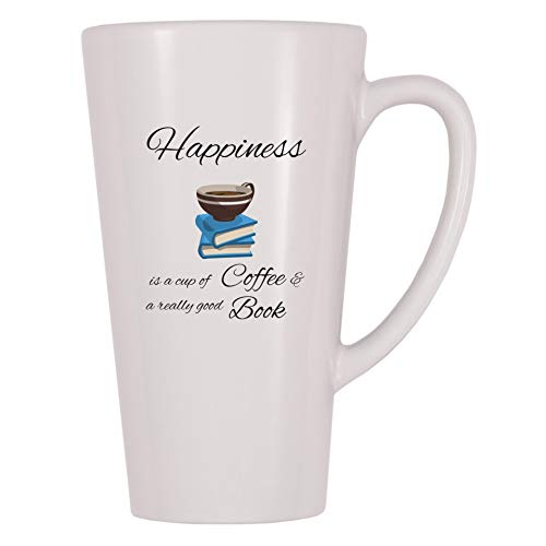 4 All Times Happiness Is A Cup Of Coffee And A Really Good Book Coffee Mug (17 oz)