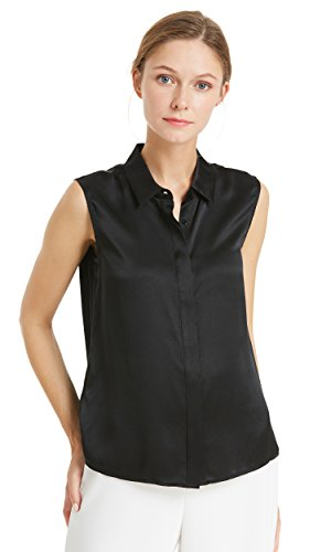 LILYSILK Silk Vest Top for Women Pure Mulberry 22MM Office Basic Style Soft Ladies Tanks Black S/4-6 by LilySilk