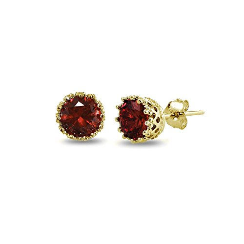Garnet Necklace Bracelet Earring (Yellow Gold Flashed Sterling Silver Garnet Crown Stud Earrings)