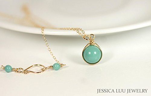 Gold Jade Swarovski Pearl Necklace Wire Wrapped Yellow or Rose Gold Filled (Jade Necklace Swarovski)