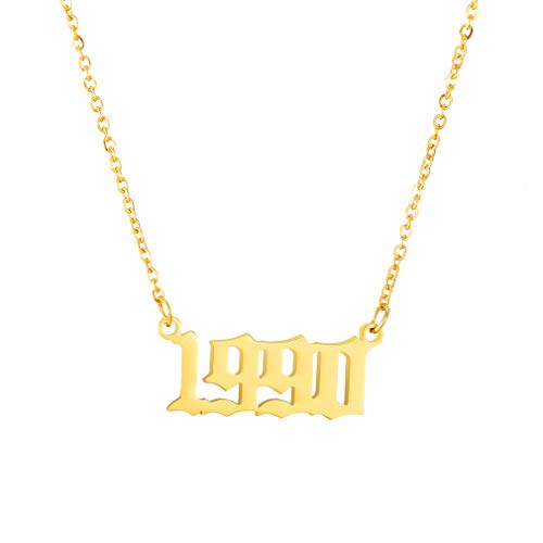 - SKQIR Birth Years Necklace,Initial Year Number Pendant Necklace Gold Plated Birthday Gift Charm Friendship Old English Arabic Mumerals Stainless Steel Necklace Jewelry for Women Girl(Gold,1990)