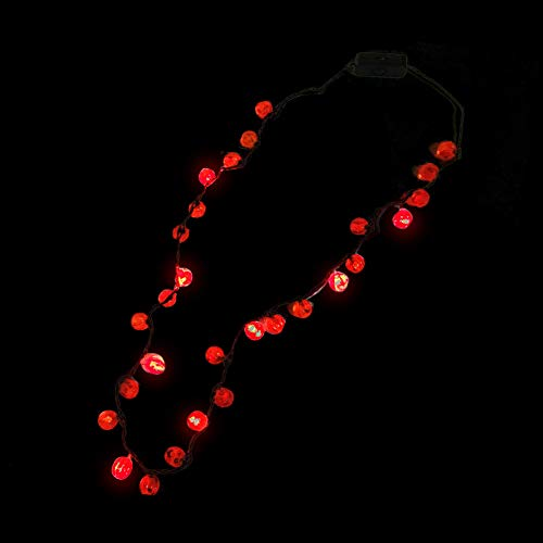 Fun Central G507, 1 Pc, 34 Inches LED Pumpkins Necklace, Light Up Necklace, Halloween Necklace, Glow in The Dark Necklace]()