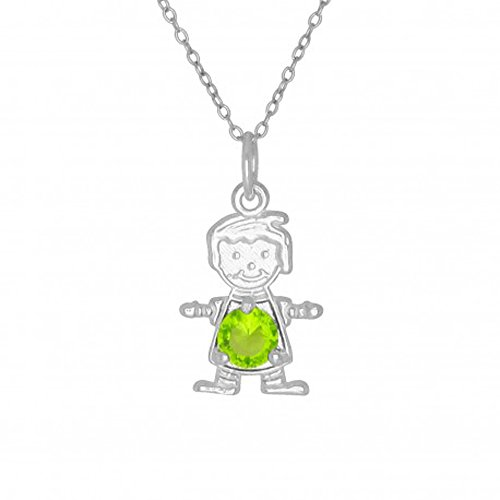 Sterling Silver August Birthstone Boy Charm Necklace - 18 to 20 Inch Adjustable Chain (Boy August Birthstone Charm)