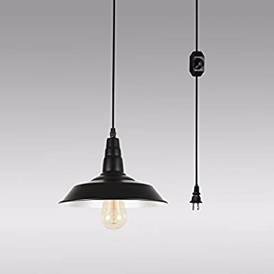 HMVPL Swag Lights with Plug in Cord and On/Off Dimmer Switch, Upgraded Industrial Barnyard Metal Hanging Ceiling Pendant Lamps for Dining Room, Bed Room or Warehouse