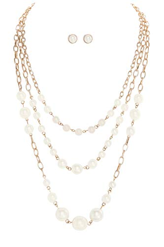 """earl Layered Bib Station Necklace on Gold-Tone Chain 18"""" w/Matching Post Earrings ()"""
