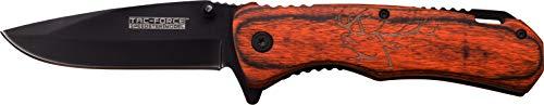 TAC Force TF-939EK-MC Spring Assisted Knife, Brown Pukka Wood Handle Elk Etch, 4.5″ For Sale