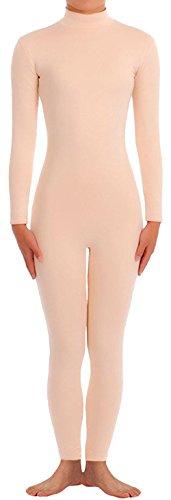Seeksmile Unisex Classic Lycra Spandex Dancewear Catsuit (Large, Nude)