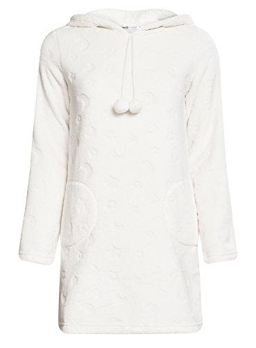 oodji Ultra Mujer Vestido de Casa con Capucha Blanco (1200O)