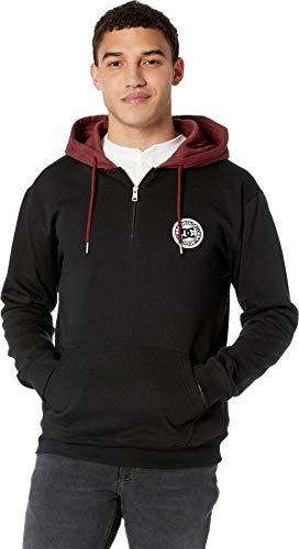 (DC Men's Rebel Pullover Half Zip Hoodie Fleece Jacket, Black)