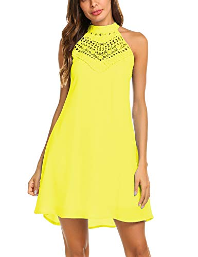 Sweetnight Womens Sleeveless Halter Neck Lace Mini Casual Dress (Yellow, M)