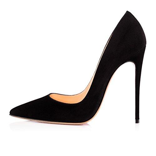 uBeauty Suède 120MM Femmes Haut Chaussures Sexy Talon Stilettos Talon Aiguille Taille Escarpins Noir Heels High Grande XngrFfXqa