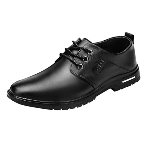 - WENSY Men's Leather Shoes, Large Size Casual Fashion Light and Comfortable Lace Single Shoes Casual Shoes Work Shoes(Black,40)
