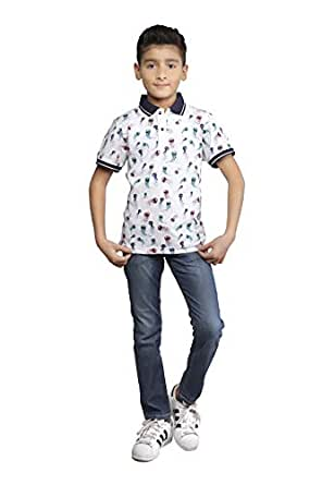 Nexgen White Shirt Neck Polo For Boys