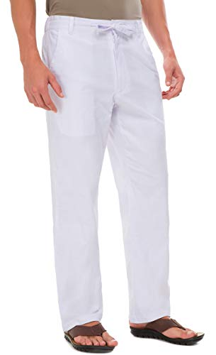 Janmid Men Casual Beach Trousers Linen Summer Pants White L