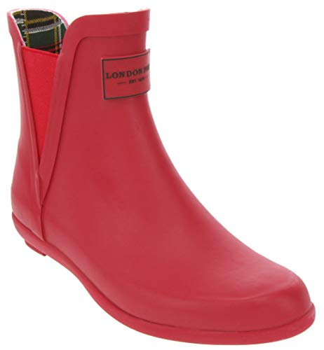 London Fog Womens Piccadilly Rain Boot Red 7 M US