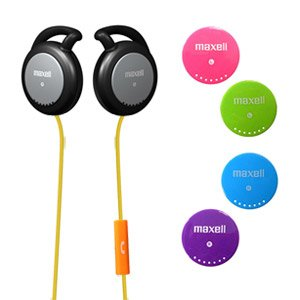 Maxell Headphone Ear Clip Stereo (Headphone for iPhone Action Kid-Safe Earclips Over Ear Headphones with Mic)