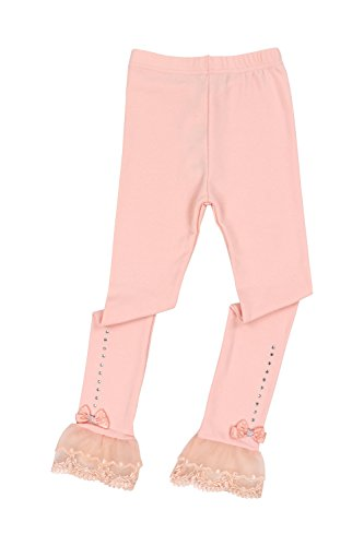 Toddler Girls Pants Little Girls' Solid-Leggings Pink Bowknot Lace (4T)