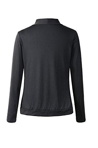 De manga larga chaqueta Casual frente abierto suéter mujeres Black