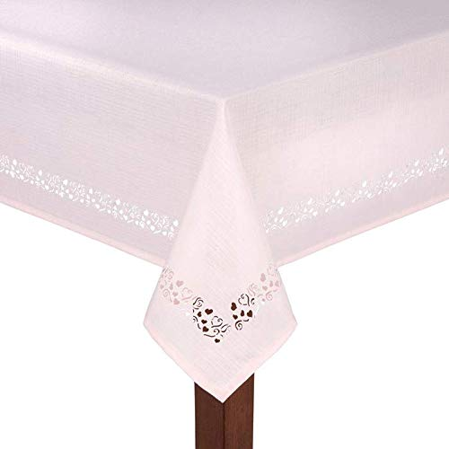 (Northeast Home Goods Valentine's Day Floating Hearts Laser-Cut Fabric Tablecloth (Pink, 52