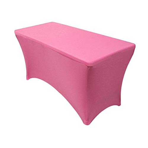 Your Chair Covers - Stretch Spandex 4 ft Rectangular Table Cover - Fuchsia, 48