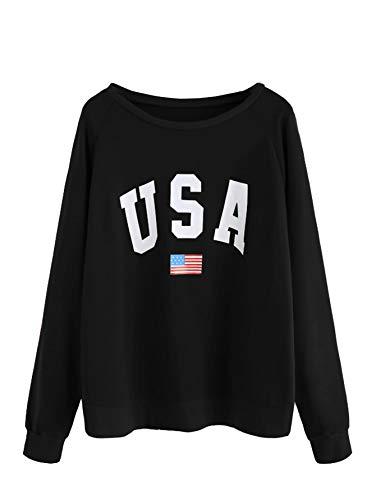 Girl Printed Fashion Top - SweatyRocks Women's USA Flag Printed Sweatshirt Long Sleeve Pullover Hoodies Top for Girl (Small, 1-Black)